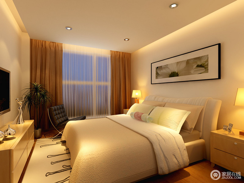 整个卧室的装饰起到了化解空洞的作用,让原本线条简单的设计,不失生活的大气和温馨;棕黄色窗帘搭配驼色系软装,并与原木家具组成朴质和暖。