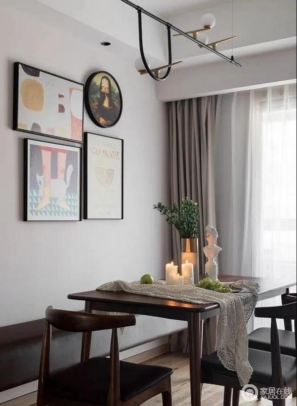 餐厅浅灰色的墙面,几幅简画便调和出了空间的艺术气息;胡桃木餐桌椅温润而高级,皮质长凳悬空而置,与木椅的精致、装饰品摆件的趣味,轻盈视觉感的同时可以容纳更多人入座,营造自在放松的用餐氛围。