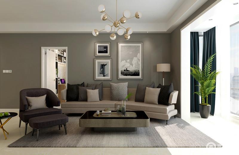 客厅主打沉稳的灰色系,墙面与沙发组的配搭,将硬朗的现代风呈现出时尚格调;阳台带来的良好采光,让空间愈加雅致十分。