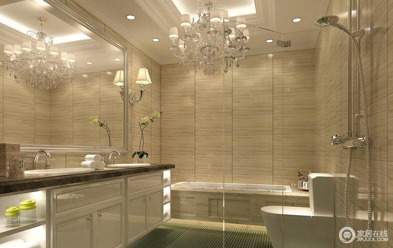 卫生间整体搭配显得简约又时尚大方的感觉,干湿分离的格局设计也是非常的实用大方。
