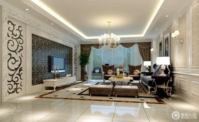 明亮的光线从宽大的窗户照进,让客厅空间显得宽敞大气。