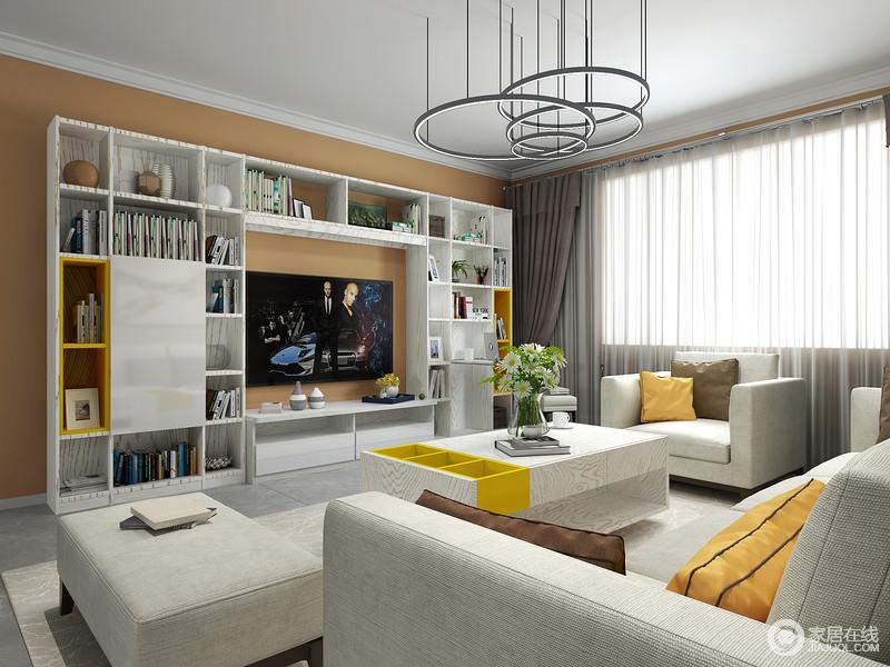 客厅白色的吊顶与灰色地砖构成反差,而圆盘错叠地吊顶带着简约设计,增补了艺术气息;几何定制电视柜承载了空间的收纳,而浅灰色沙发搭配茶几,却让生活更为舒适。
