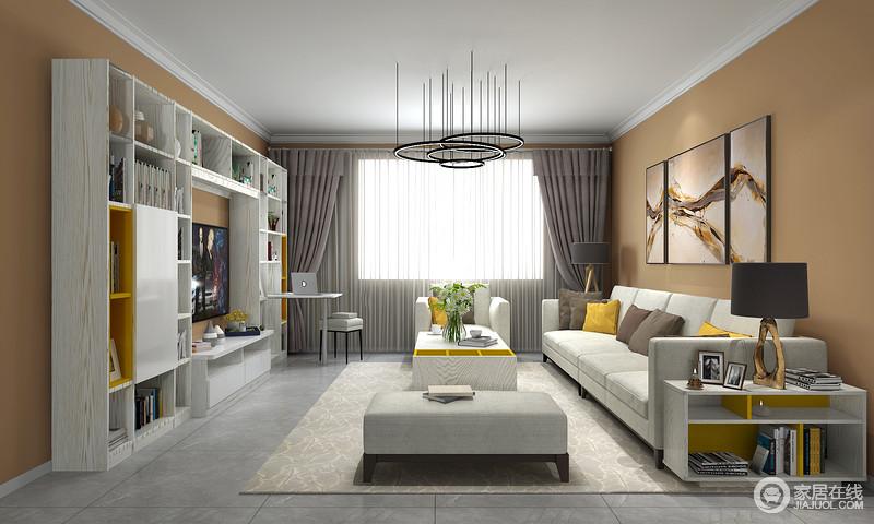 空间虽然以橙色为主,但是,布置有序地米色沙发松软舒适,边柜与茶几、装饰画组合与靠垫都让生活足够温馨;原本平静的空间具有跳跃性,而深灰色窗帘更是添置了一份深沉。