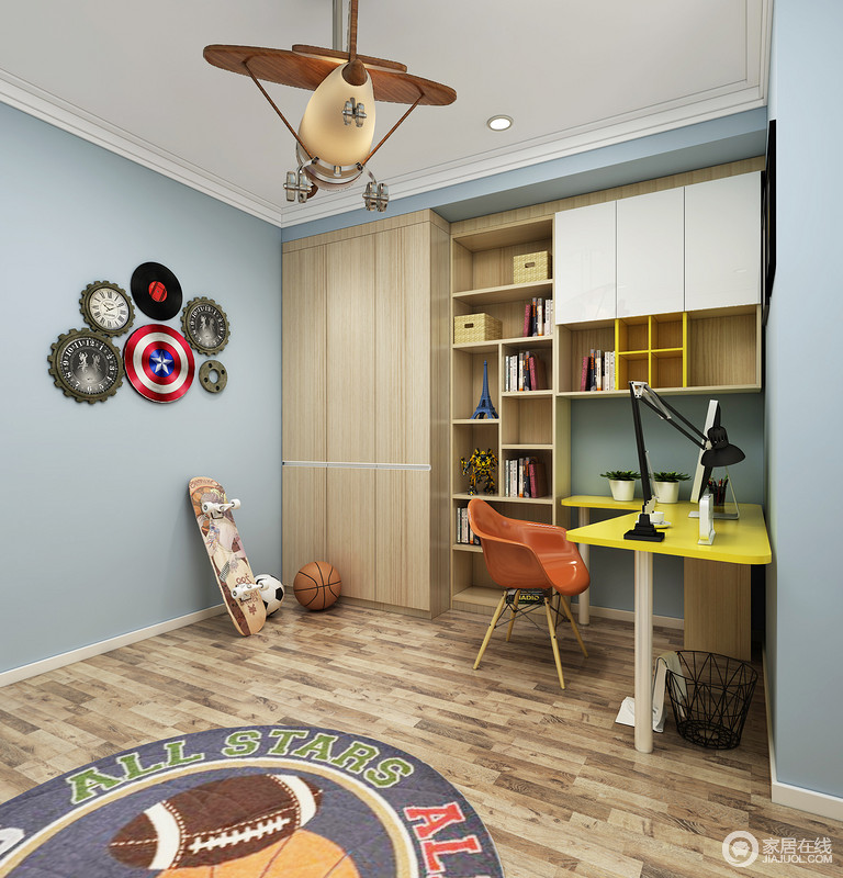 儿童房内以浅蓝色来粉刷墙面,营造一份清爽和雅静,能够让孩子更专注与学习;定制得书柜与原木地板色调上相似,材质虽不同,却足够恬淡,几何书柜搭配北欧学习桌、木椅,给予空间色彩之外,也让生活充满了色彩。