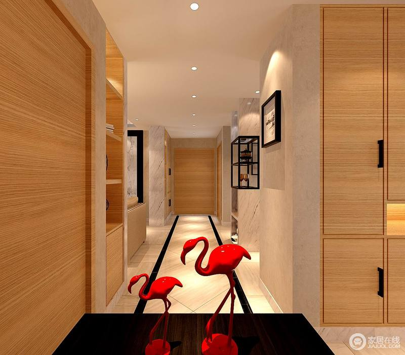 设计师打破了空间设计的局限,将实木收纳柜或展示柜嵌在建筑结构中,形成新的整体,规整中相融出和谐,并与驼色壁纸营造着温实。