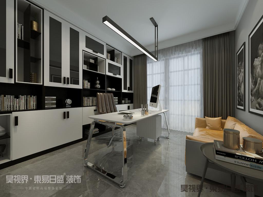 书房沙发与客厅沙发相呼应,简洁又个性。