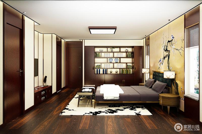 空间十分方正整洁,吊顶黑边的勾勒简单却立体,与褐色木地板呈面妆感的对比效果;嵌入式储物柜十分实用,淡黄色花鸟背景墙搭配考究实木家具,稳重而温馨,黑白美化地毯与托色系椅凳渲染朴质与温暖,让主人生活在中式韵味的空间里,享受安适。