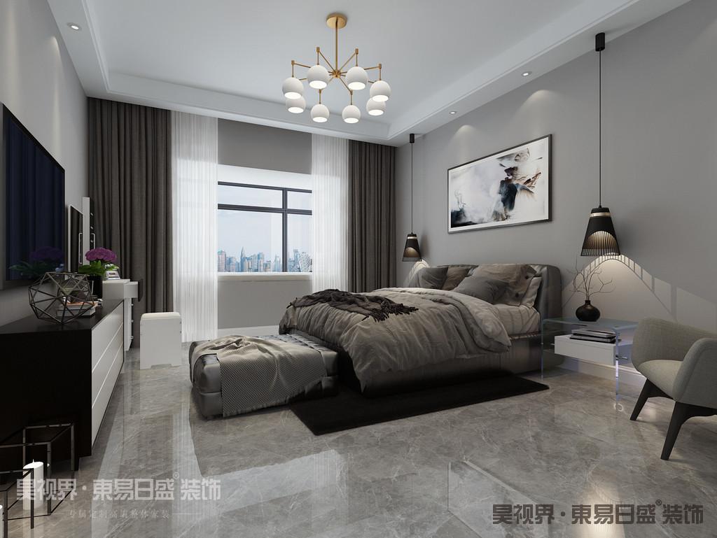 卧室简约的线条感与优雅的空间感,从修生养息中得到身体和心灵上的放松,吊灯别具质感,更显简洁大气