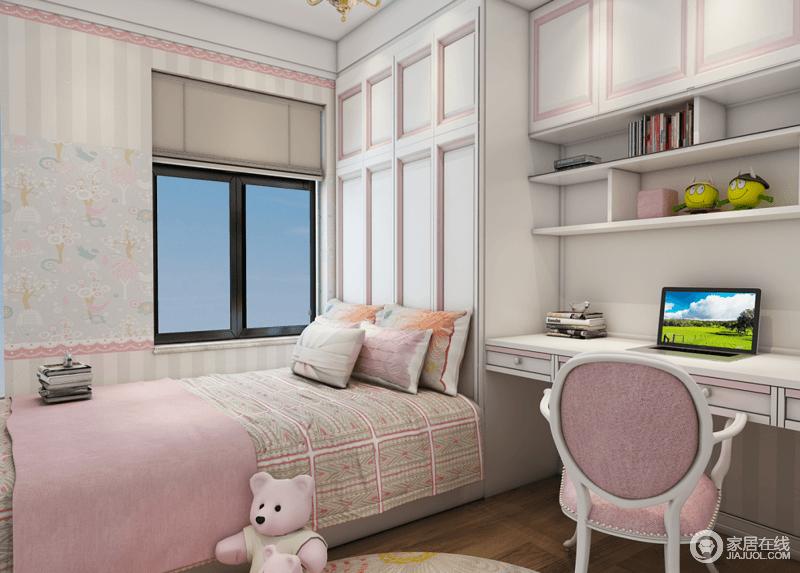 """儿童卧室以粉色为主表达少女梦,。色彩表达张扬但不夸张,视觉效果轻松而舒服;用一块粉色地毯刻意划出活动区域,几个单品便将功能区凸显出来,仿佛营造了""""美好""""和""""活泼""""两个梦境。"""