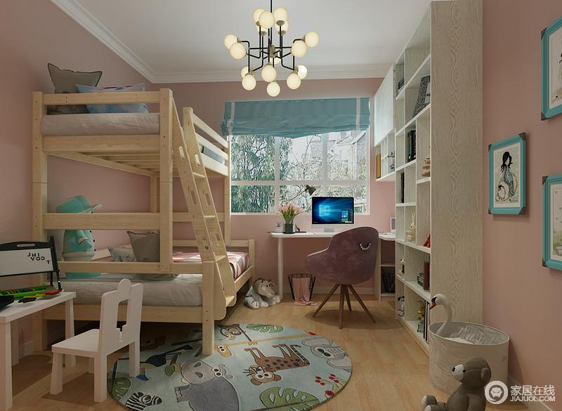 儿童房因为粉色漆而让整个空间更为梦幻和甜美,从蓝色相框、窗帘和蓝色卡通圆毯,为空间注入了清新;而实木支架床与几何木柜以功能设计带来实用哲学,搭配金属球泡灯和学习桌,让宝贝更享受专属的空间。