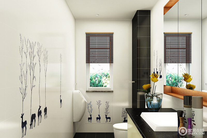空间看似狭小,但是足够满足生活的需要,在铺贴瓷砖的时候特意选择小鹿和青草图案,并以黑白之色打造出简洁利落;镜面柜与小窗让空间显得明快,黑色台面与之呈对比之美,简洁舒适。