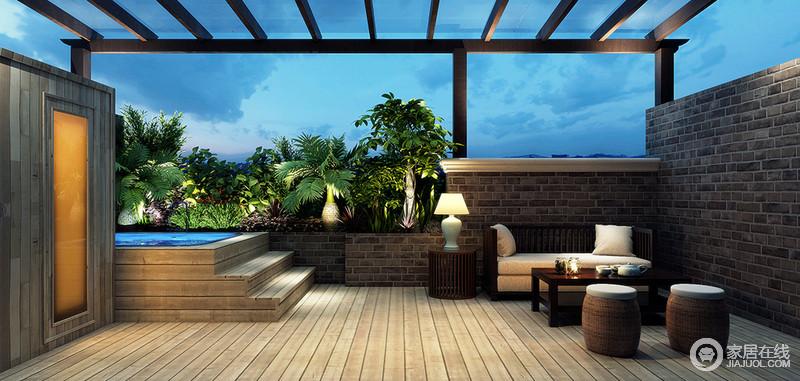 设计师将露台上的空间打造出了一个私人休闲室,不仅可以游泳娱乐,更以开阔明朗的格局带来观影体验;原木板的地板和堆砌得砖石形成自然古朴,而简约舒适的木作户外家具,让你与绿景拥抱之余,享受一刻自得。