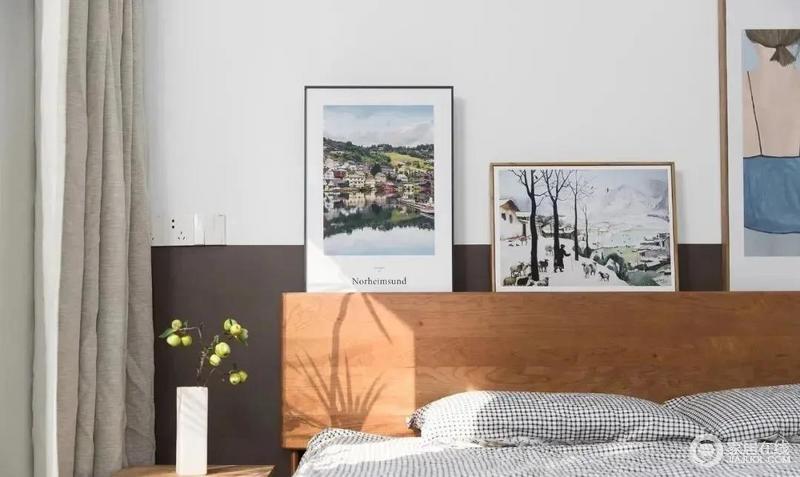床头摆放装饰画,文艺小清新的格调由然而生,搭配花器,营造清新。
