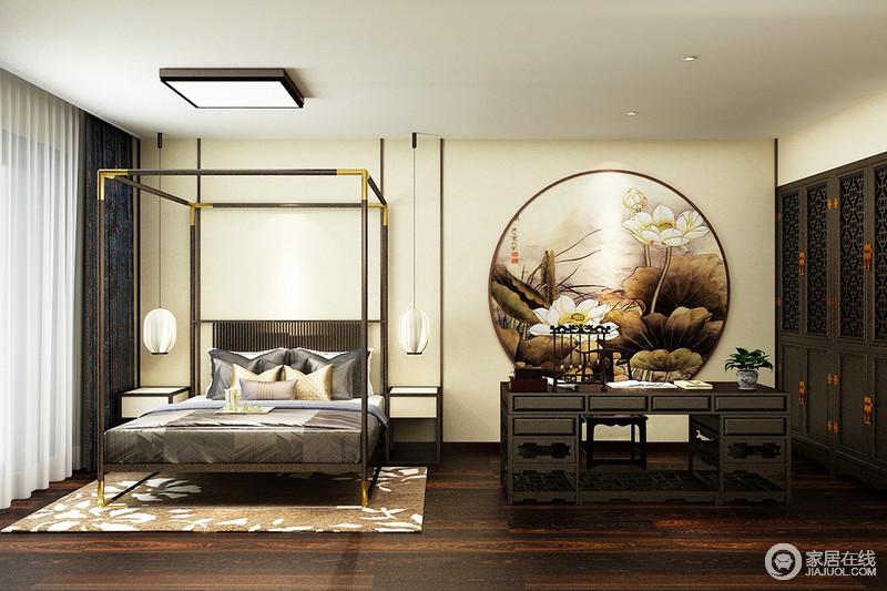 卧室以驼色壁纸来张贴立面,并借荷花图景营造家的一片清韵;中式实木支架床的新设计,搭配可爱精致地台灯形成强烈的对比,打造别致;中式实木书桌因为文房四宝多了古意古韵,与中式衣柜赋予生活底蕴,而都市风的地毯和窗帘增添了质感,造就不一样的中式新雅。