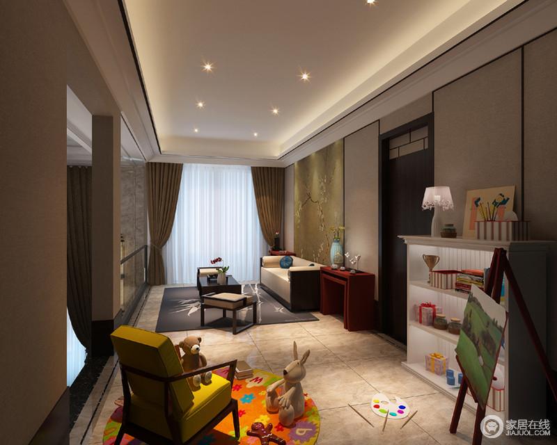 时光孕育了艺术,但是艺术却润泽着生活,正如这个儿童休息室一般,以沉稳的用色将中式家具和神韵留驻在空间,让人心神宁怡;彩色圆毯上的黄色单椅与红色新中式边柜带着新旧,更显情趣。