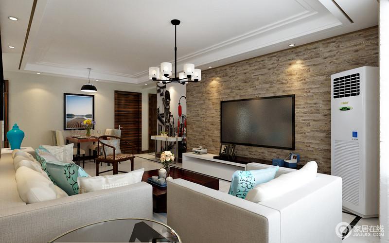 整个空间平整简洁,现代铁艺吊灯中和着空间的挑高,与现代家具组合出都市风;而褐灰色木纹壁纸奠定了空间的稳重,让人生活的足够沉静。