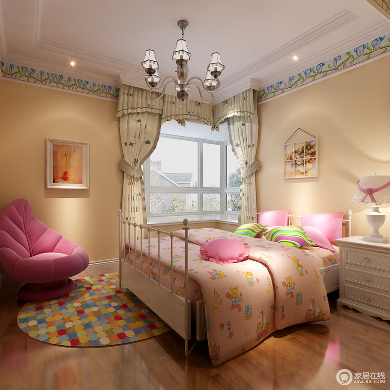浓郁的梦幻感一下子释放出爆棚的公主心,晶粉色墙上方点缀蓝绿花枝,缱绻间粉色床品上卡通印花、彩虹条纹及地毯上的马赛克,洋溢起活力童趣。一款阔叶型沙发椅,更是趣味感十足。