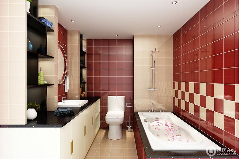 卫生间十分方正,但是原有的建筑墙体成为设计的一大难点,设计师通过墙面收纳,巧妙发挥其立体感;红色与米色砖石组合出明快,而黑白色调盥洗柜与浴缸,让空间现代经典,却不失色彩质感。