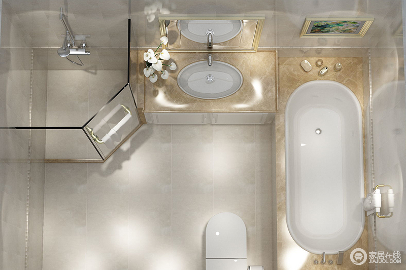 卫生间以驼灰色砖石铺贴立面,让整个空间朴质利落,设计师通过玻璃淋浴室将干湿做了分区,再加上浴缸,让主人体验不同的沐浴方式;米色大理石打造得盥洗台以洁净带来质感生活。