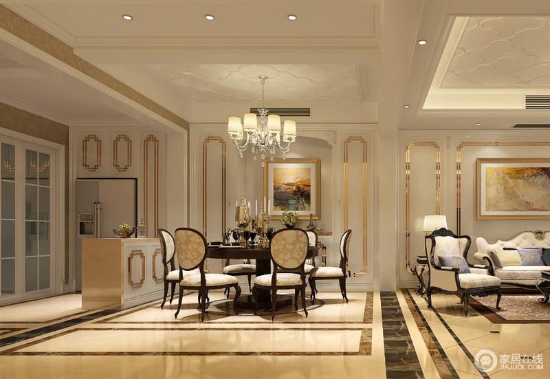 丰富的线条在空间细节上的装饰营造,使两厅及吧台区的整体视觉,显得高雅明快富有节奏;圆形花纹靠背餐椅配上朴质厚重的圆桌,展现平和安然的就餐氛围;长方形的吧台与垭口,无形中划分餐厨区。