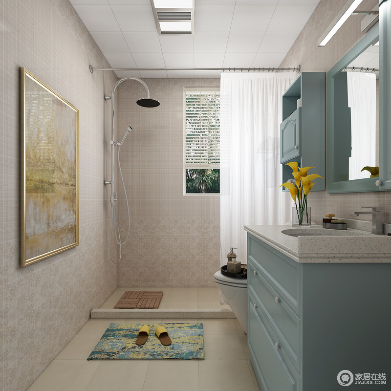 花纹感很强的墙砖瞬间让卫生间变得高端大气上档次,故意加高的淋浴区清晰的分割出了卫生间的功能划分。