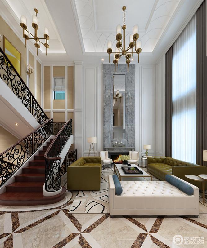 客厅的落地窗让空间十分明快,白色立面因为镶嵌了灰色大理石砖、壁炉更具天然之美;对称陈列的单椅与台灯,和现代古典沙发让生活舒适大气,也雕琢出上乘和讲究的设计美学。