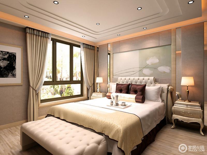 卧室的线条十分简洁和流畅,清简的田园风情背景墙带着自然般的惬意更显简雅;金属边柜的曲线感和奢华范儿与床尾凳形成古典风,让原本看似素雅的空间,更显端庄、轻奢。