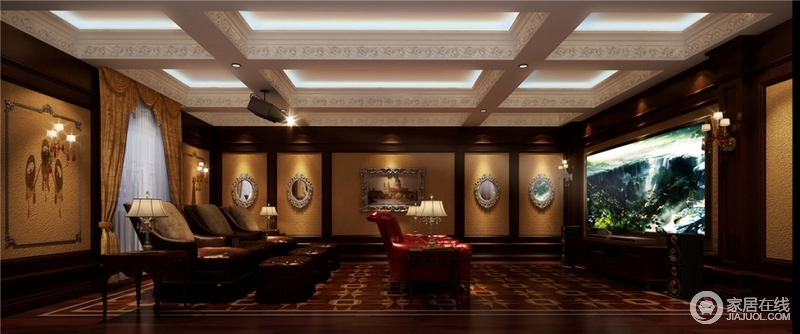 专业影视厅既能满足影音室隔音和声学特性,有能彰显装修豪华与个性效果。根据不同家庭的房间结构进行规划,选择相应的房间进行设计,合理配置影音设备并和家居装饰融为一体,保证视觉和听觉的完美统一。