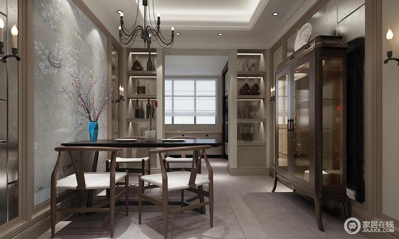 餐厅的吊灯方正大气,在暖白色灯带的装饰下,俞显结构之美;灰色壁纸与地砖色彩相近,却因为原本储物格、胡桃色橱柜的装饰,让空间在结构设计中成就收纳美学,新中式餐椅的曲线之美与线灯照应,多了静谧的生动。