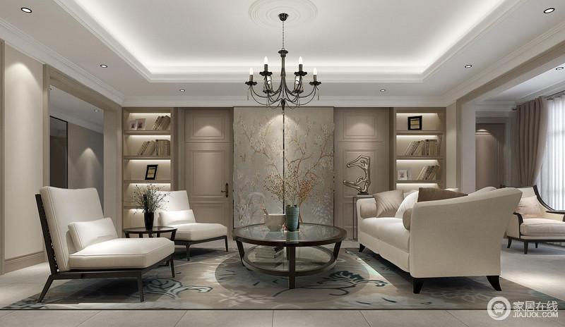 空间整洁利落,线条之间与工艺形成严密的匹配,再加上矩形造型,令空间格外整洁;背景墙的定制式嵌入书柜以对称的方式将文艺气息铺散在空间,再加上轻漫的植物风木门点缀出自然之美,十分唯美;中性色的沙发组合十分端庄大气,与驼色地蓝色花的地毯打造着温雅。