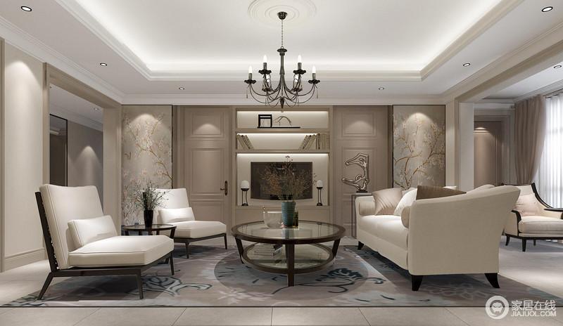 客厅以白色吊顶与驼色墙面塑造中性沉静,灰蓝色花卉立面搭配驼色立面,令整个墙面精致了不少;中性色的现代家具组合搭配器物、灯饰,渲染出文静和谐的氛围。