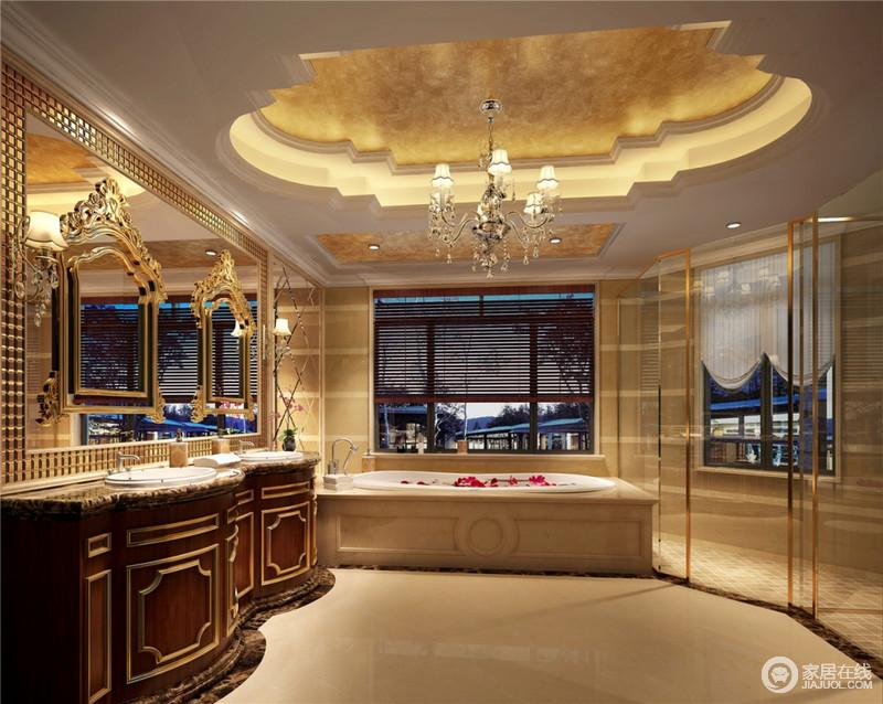 法式风格总是给人以富丽堂皇、雍容华贵的感觉,因为花形吊顶多了结构美学;卫生间也不例外,虽然这个卫生间本身并不大,但是华丽的洗漱台、镜子、小饰品、灯具,再加上淡黄色的瓷砖,整个卫生间自然而然就流露出一种法国宫殿版的华贵。