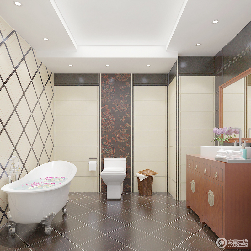 卫生间的墙面以浅驼色菱形瓷砖铺贴出了动律和几何之美,搭配灰色地砖,冷暖间自得舒适;新中式盥洗台的复古之美,为空间奠定东方神韵。