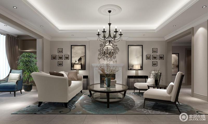 客厅整体的结构将空间区域作了区分,阳台处蓝色扶手椅减少了沉闷,让生活多了优雅;驼灰色漆粉刷墙面与深灰色地砖形成深浅对比,却打造了一个够安静的氛围;以壁炉为中心,两侧对称地陈列了边柜、台灯、挂画和照片,对称与对比中成就和谐;中性色的沙发组合因为灰蓝色花卉地毯的反衬出素雅时尚,搭配精致地圆几,与花器成就质感生活。