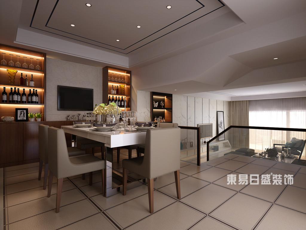桂林丽景5号公馆四居室160㎡现代简约风格:餐厅装修设计效果图