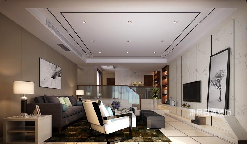桂林麗景5號公館四居室160㎡現代簡約風格:客廳電視墻裝修設計效果圖