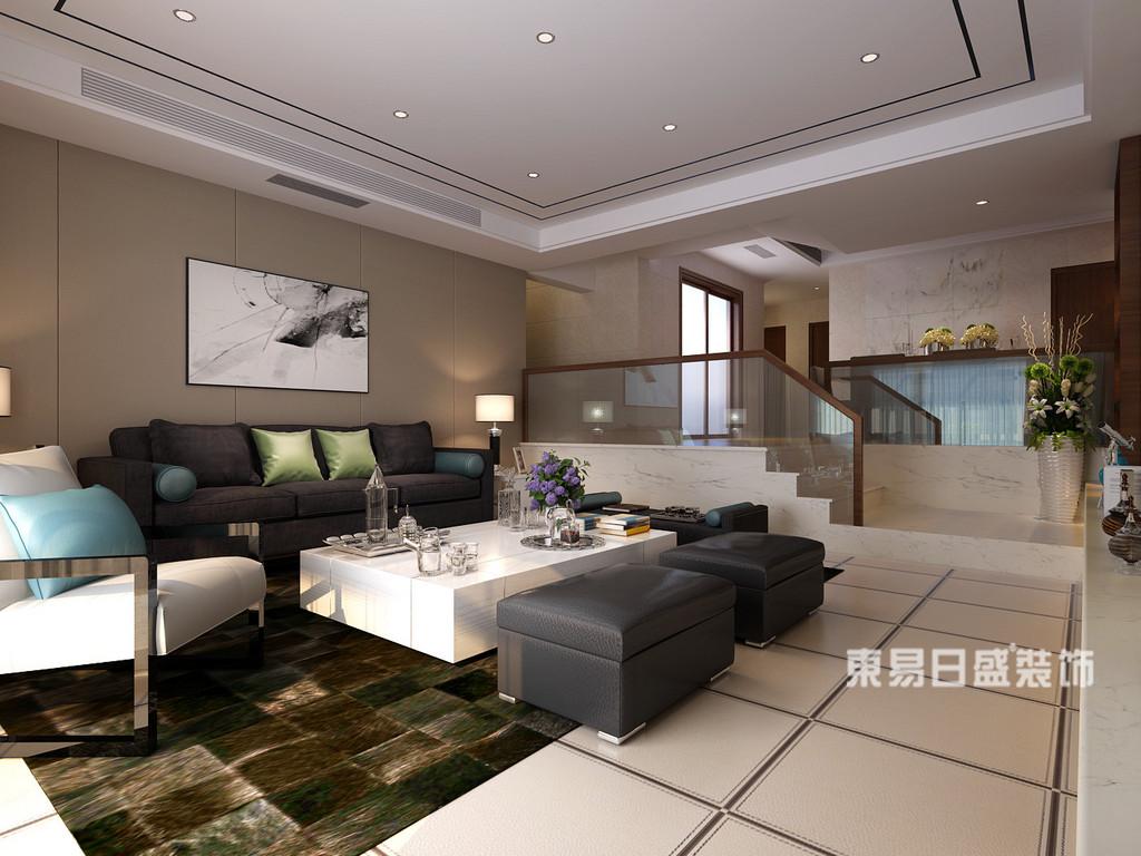 桂林丽景5号公馆四居室160㎡现代简约风格:客厅装修设计效果图
