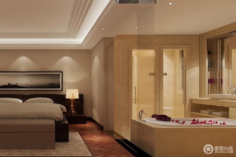 """主卧内的卫生间可谓""""大空间、巧分区"""",通过干湿分离的设计,让主人沐浴在舒适里;而米色大理石美化立面,硬朗而精致,让盥洗愈加讲究。"""
