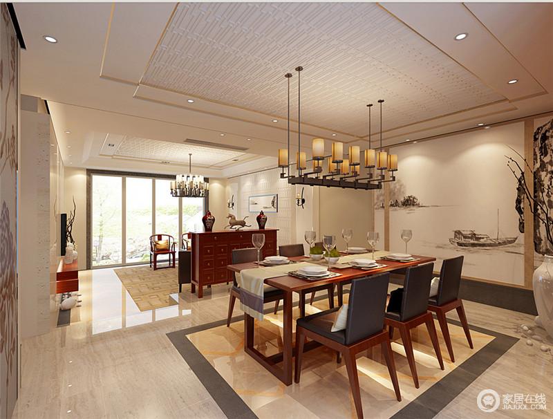 大片留白式的水墨,营造出淡泊从容逍遥的自在感和无束缚。空间充满了中式的禅韵,而具有现代家具特质的餐桌椅与铁艺烛光灯,使空间中西兼修,打造出心境清清且高贵典雅的气质来。