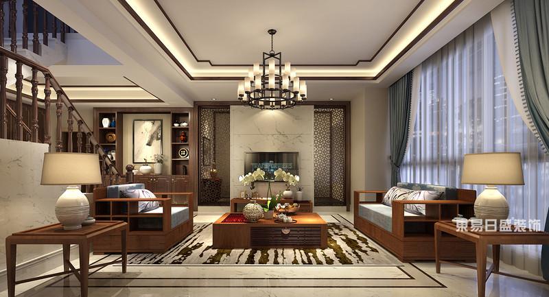 桂林富杰•水岸家园复式楼280㎡新中式风格:客厅电视墙装修设计效果图