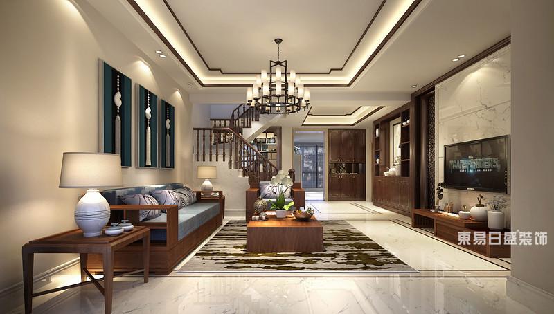 桂林富杰•水岸家园复式楼280㎡新中式风格:客厅装修设计效果图