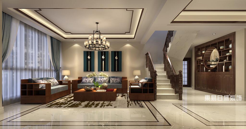 桂林富杰•水岸家园复式楼280㎡新中式风格:客厅楼梯装修设计效果图