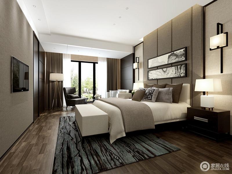 灰色调所营造出的宁静感,使休憩氛围平和舒适;墙面和床头运用了层次上的壁纸、软包,有效的隔绝噪音,令室内环境愈加舒缓沉稳;悬挂的山水画和地毯上的枝桠,以自然的幽谧填充软饰,诠释出内敛闲逸格调。