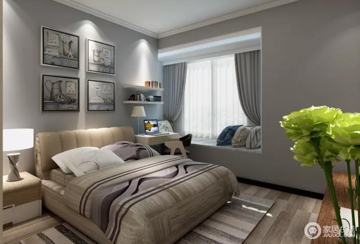 卧室因为色调上的柔和,营造出一种安静和朴素;看上去明朗宽敞舒适的家,消除工作的疲惫,忘却都市的喧闹;而背景墙的黑白画和飘窗、条纹地毯给予家温馨。