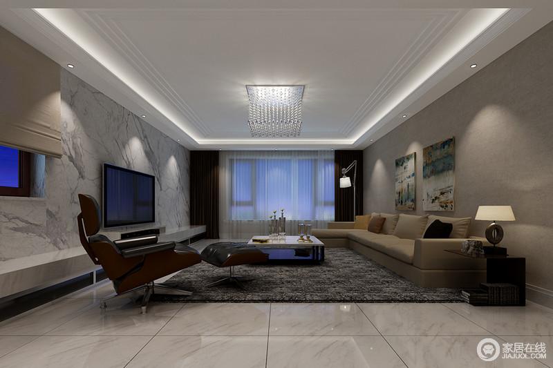 空间线条简洁,背景墙铺贴了灰白色砖石,与地砖以利落的设计成就现代硬朗;白色吊顶内的灯带与深灰色地毯构成色彩层次,而驼色沙发及家具、灯饰,装饰出灰色雅静。