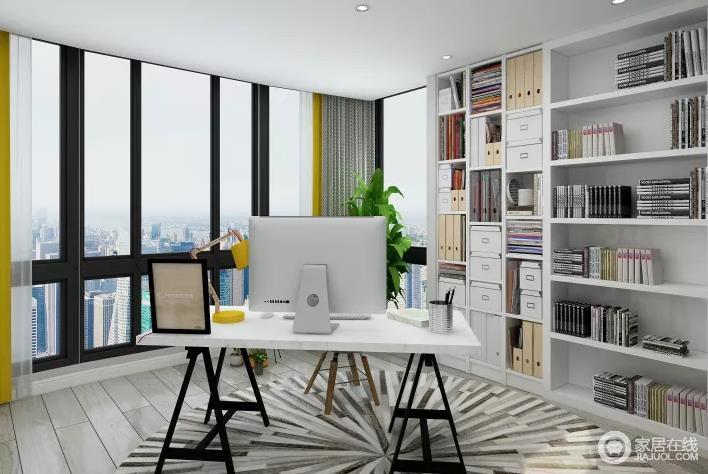 书房的落地窗增加了视野上的开阔,几何书柜的空虚设计,让陈列也成为空间的亮点,圆毯的条纹设计点缀出动感,与白色书桌的简约,构成实用与美观。
