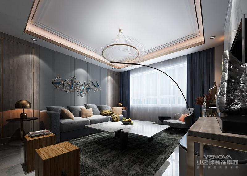 灰色的沙发背景墙搭配灰色灰色沙发,屋顶是现代流行的钛金条。