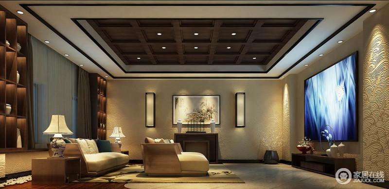 瑞彩祥云壁纸图案细腻铺陈中尽显低调的尊贵;柔软舒适的现代特质多人沙发,带来最佳观影享受,将古典与现代时空穿插间,感受空间展现的魅力。
