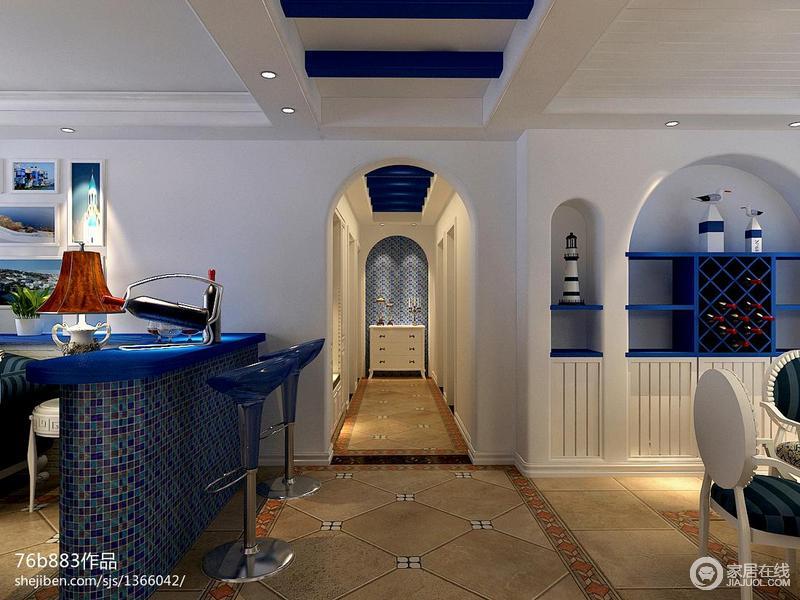 进门的走廊设计显得神秘,显示房间整体空间大。它的吊顶颜色的设计非常独特。