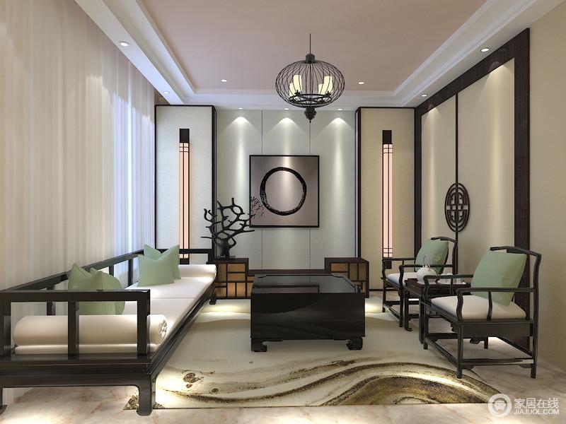 休闲室以青白色几何为主,并搭配修长地壁灯,与方圆感的挂画构成几何美学;驼色的收纳柜因中式五金件显得格外古旧,与黑檀木中式家具构成新中式的典雅与庄重,青绿色靠垫点缀在沙发上,与米黄色地毯让空间不失色彩与柔和,给新中式设计一种新的视觉效果。